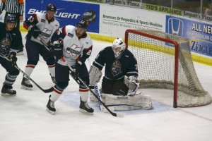 Darren Archibald parks himself in front of the net during Friday nights game against the Greenville Road Warriors.